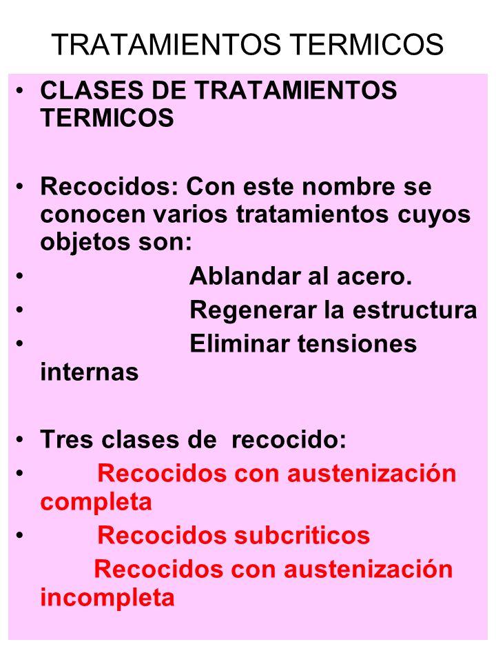 CLASES DE TRATAMIENTOS TERMICOS Recocido de austenizacion completa o de regeneración de estructura: Se realiza a temperatura ligeramente mayor que la critica superior, se enfría lentamente, en el horno.
