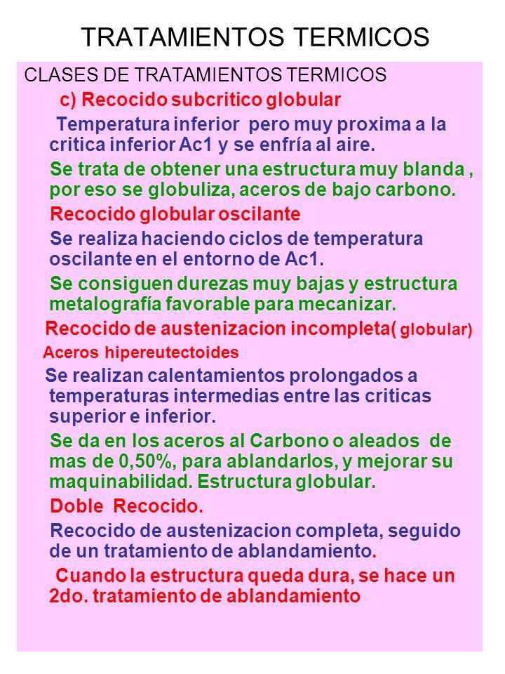 CLASES DE TRATAMIENTOS TERMICOS c) Recocido subcritico globular Temperatura inferior pero muy proxima a la critica inferior Ac1 y se enfría al aire. S