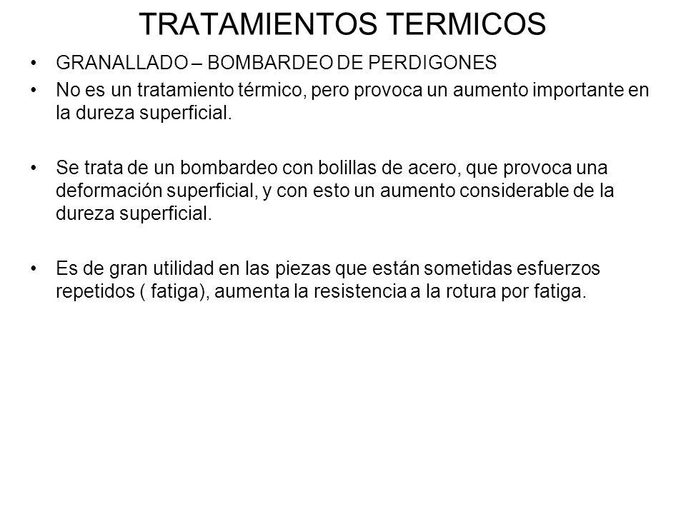 TRATAMIENTOS TERMICOS GRANALLADO – BOMBARDEO DE PERDIGONES No es un tratamiento térmico, pero provoca un aumento importante en la dureza superficial.