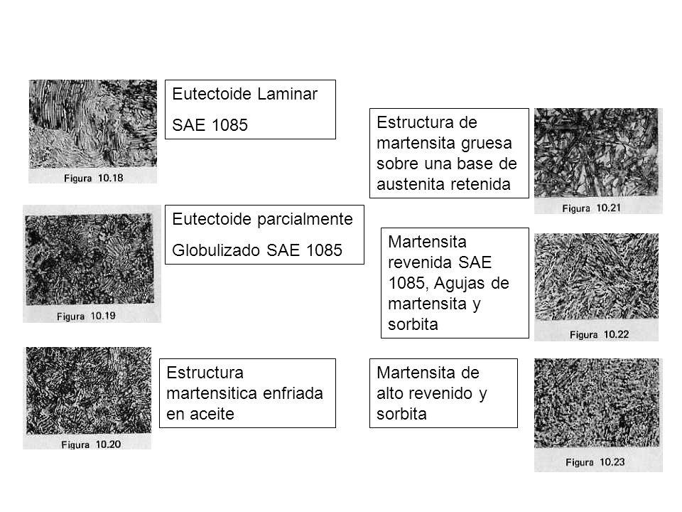 Eutectoide Laminar SAE 1085 Eutectoide parcialmente Globulizado SAE 1085 Estructura martensitica enfriada en aceite Estructura de martensita gruesa so