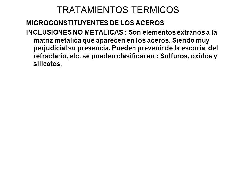TRATAMIENTOS TERMICOS MICROCONSTITUYENTES DE LOS ACEROS INCLUSIONES NO METALICAS : Son elementos extranos a la matriz metalica que aparecen en los ace