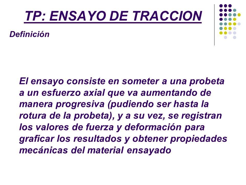 TP: ENSAYO DE TRACCION Alcance del T.P El alcance del ensayo a realizar en la UNLu será obtener la curva tensión-deformación.