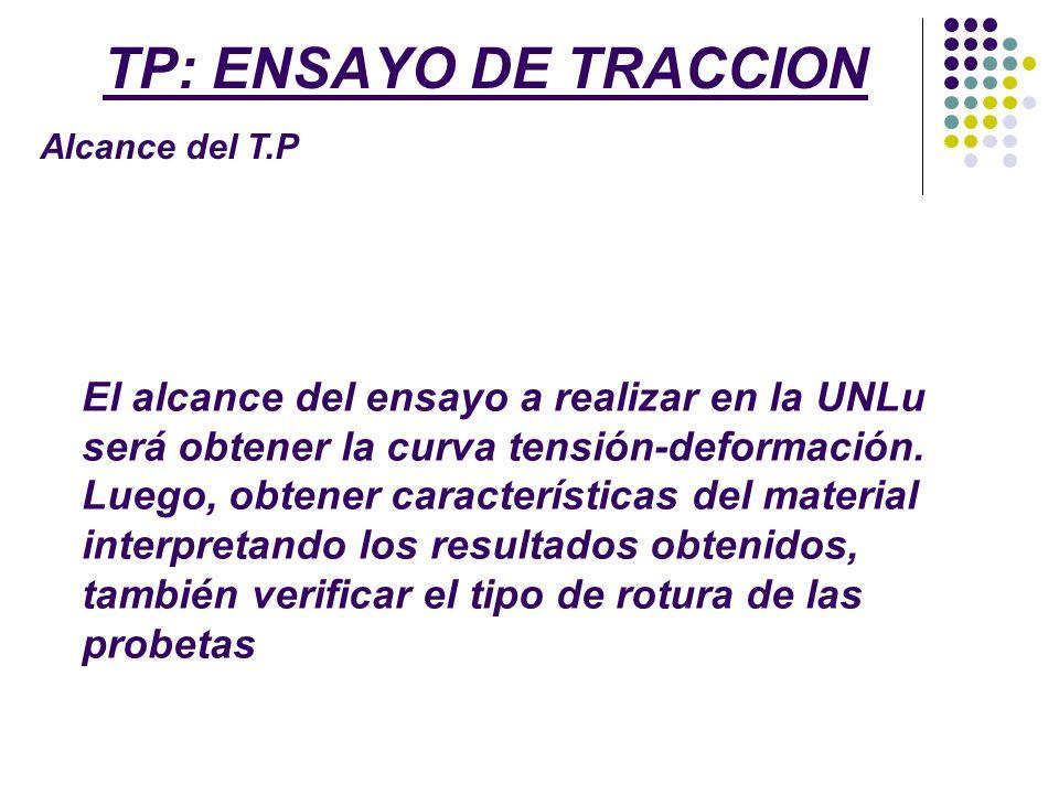 TP: ENSAYO DE TRACCION Alcance del T.P El alcance del ensayo a realizar en la UNLu será obtener la curva tensión-deformación. Luego, obtener caracterí