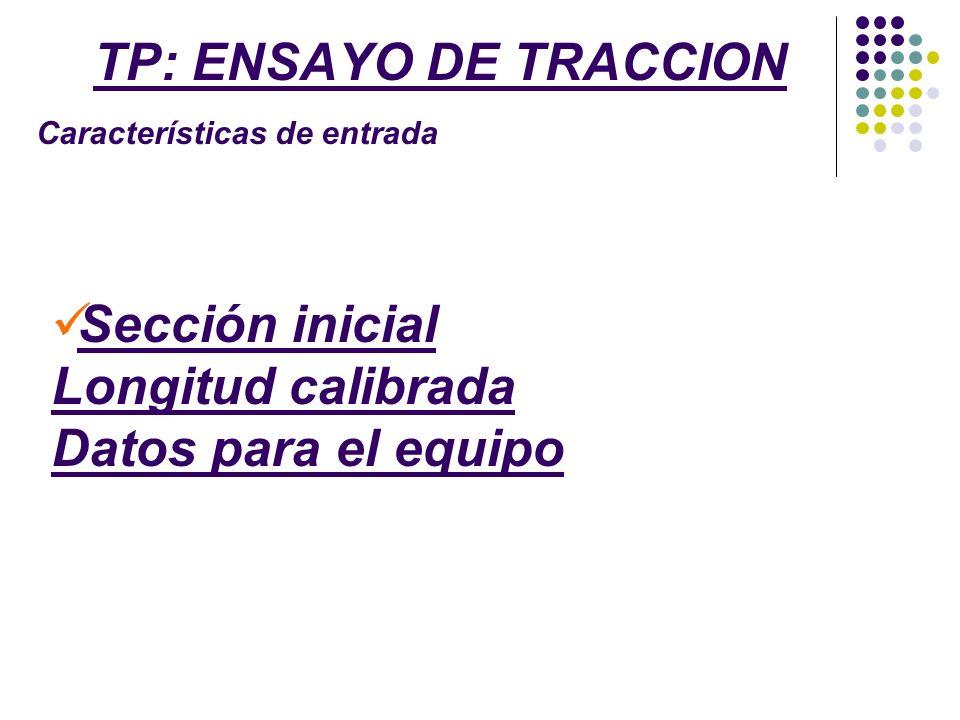 TP: ENSAYO DE TRACCION Resultados Sección final Curva tensión-deformación Caract.