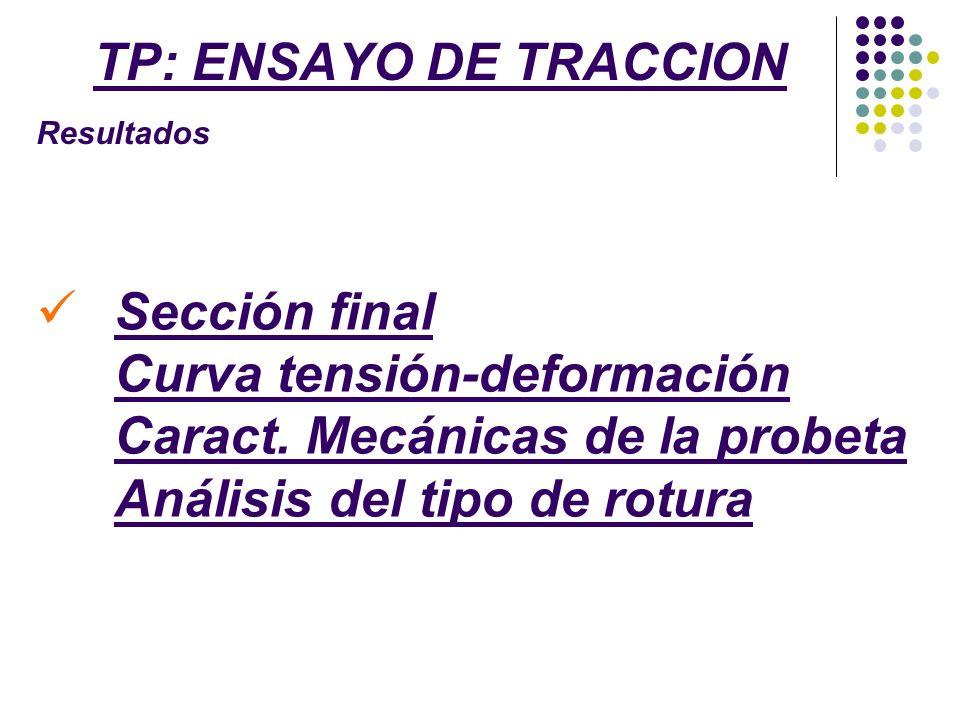 TP: ENSAYO DE TRACCION Resultados Sección final Curva tensión-deformación Caract. Mecánicas de la probeta Análisis del tipo de rotura