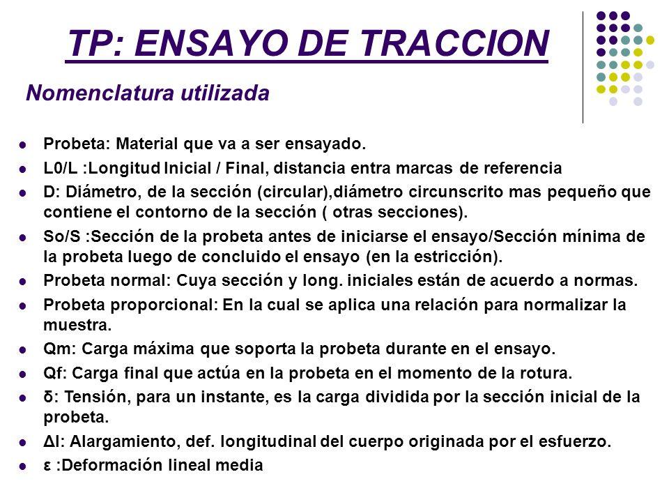 TP: ENSAYO DE TRACCION Nomenclatura utilizada Probeta: Material que va a ser ensayado. L0/L :Longitud Inicial / Final, distancia entra marcas de refer