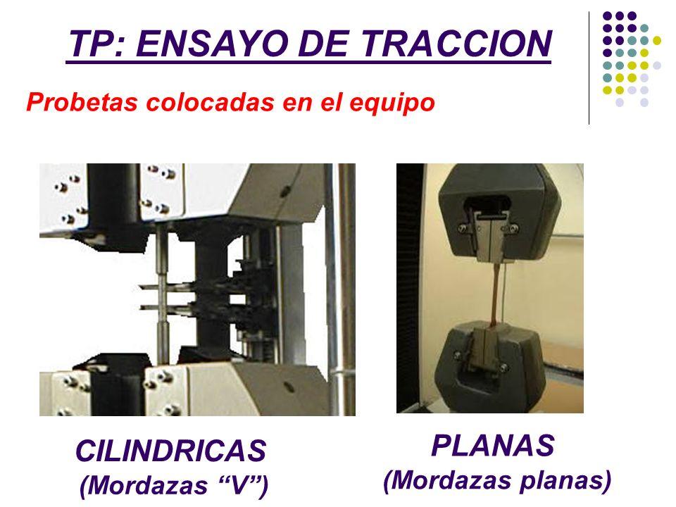 TP: ENSAYO DE TRACCION Probetas colocadas en el equipo CILINDRICAS PLANAS (Mordazas V) (Mordazas planas)
