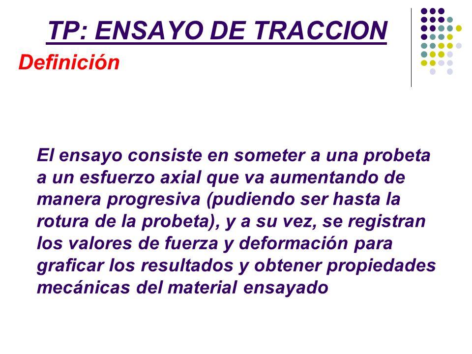 TP: ENSAYO DE TRACCION Definición El ensayo consiste en someter a una probeta a un esfuerzo axial que va aumentando de manera progresiva (pudiendo ser