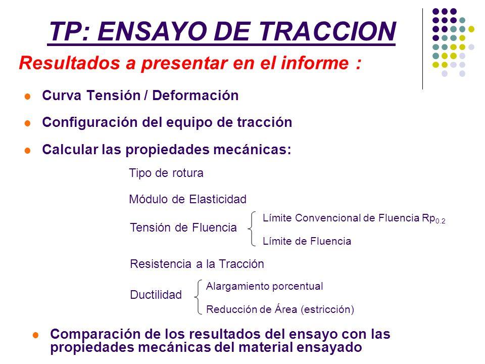 Curva Tensión / Deformación Configuración del equipo de tracción Calcular las propiedades mecánicas: TP: ENSAYO DE TRACCION Resultados a presentar en