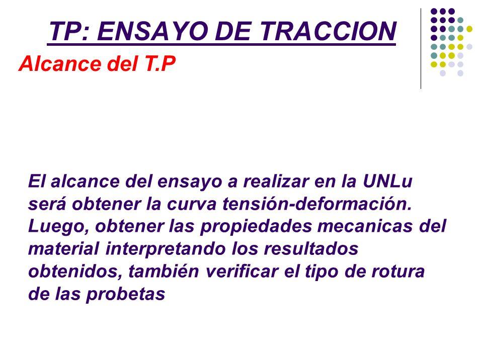 TP: ENSAYO DE TRACCION Alcance del T.P El alcance del ensayo a realizar en la UNLu será obtener la curva tensión-deformación. Luego, obtener las propi