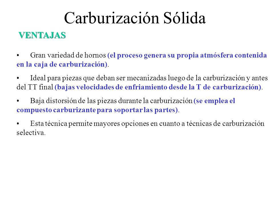 Carburización Sólida Gran variedad de hornos (el proceso genera su propia atmósfera contenida en la caja de carburización). Ideal para piezas que deba