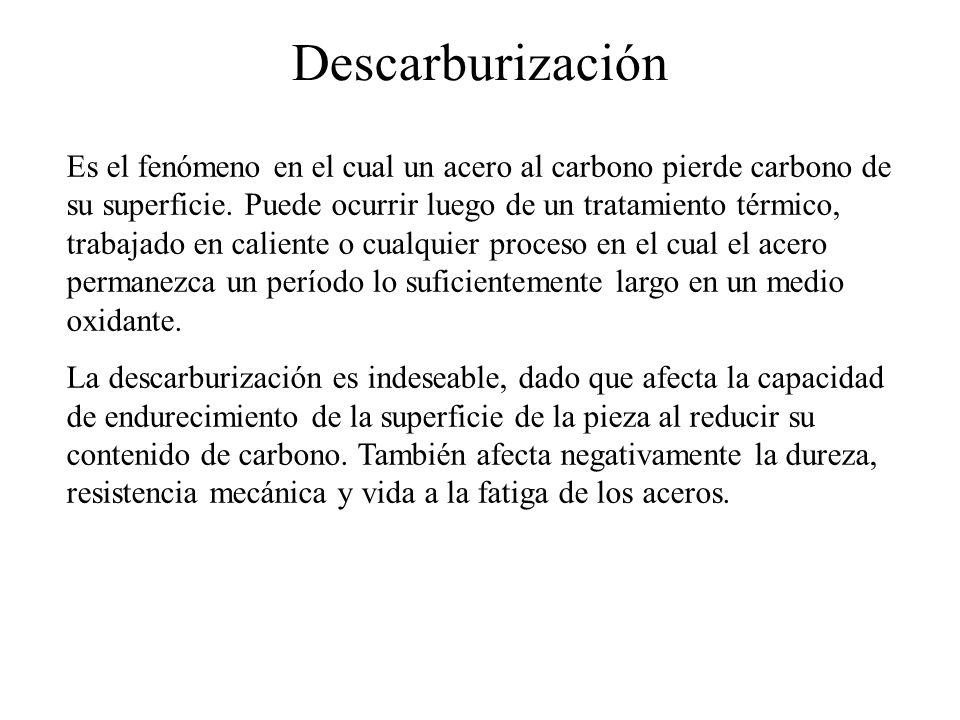 Descarburización Es el fenómeno en el cual un acero al carbono pierde carbono de su superficie. Puede ocurrir luego de un tratamiento térmico, trabaja