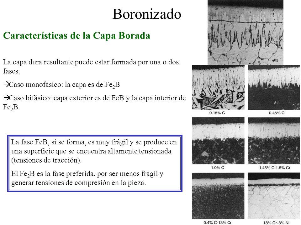 Boronizado Características de la Capa Borada La capa dura resultante puede estar formada por una o dos fases. Caso monofásico: la capa es de Fe 2 B Ca