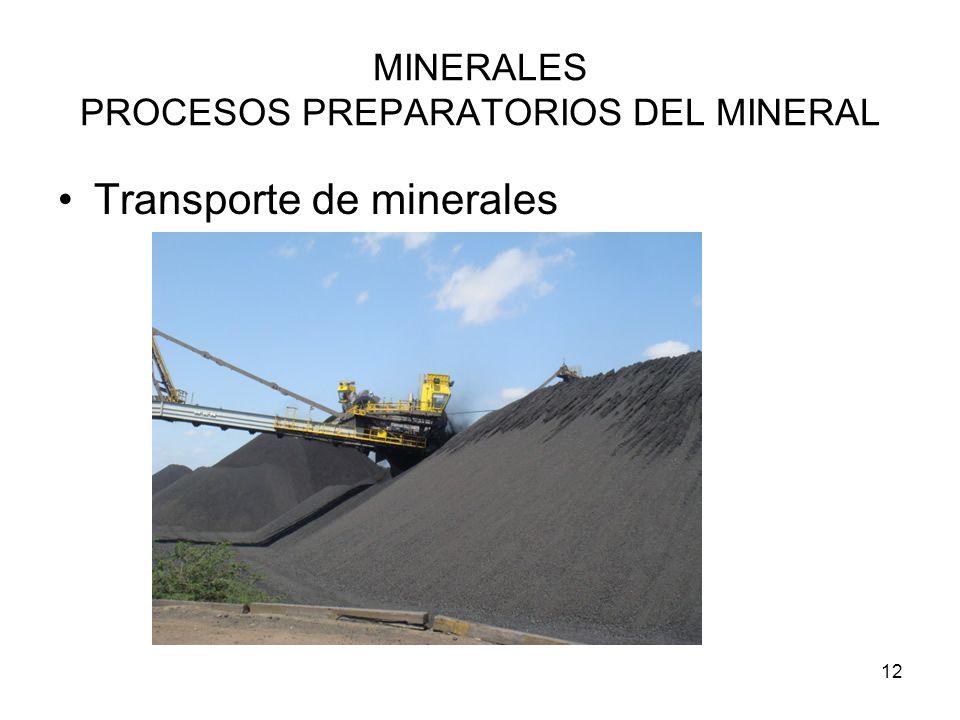 12 MINERALES PROCESOS PREPARATORIOS DEL MINERAL Transporte de minerales