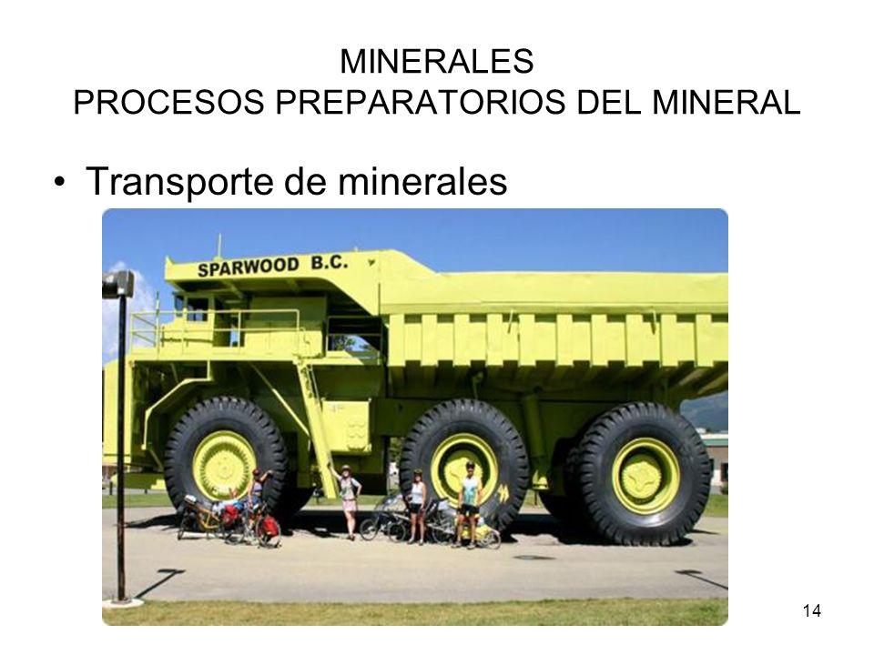 14 MINERALES PROCESOS PREPARATORIOS DEL MINERAL Transporte de minerales
