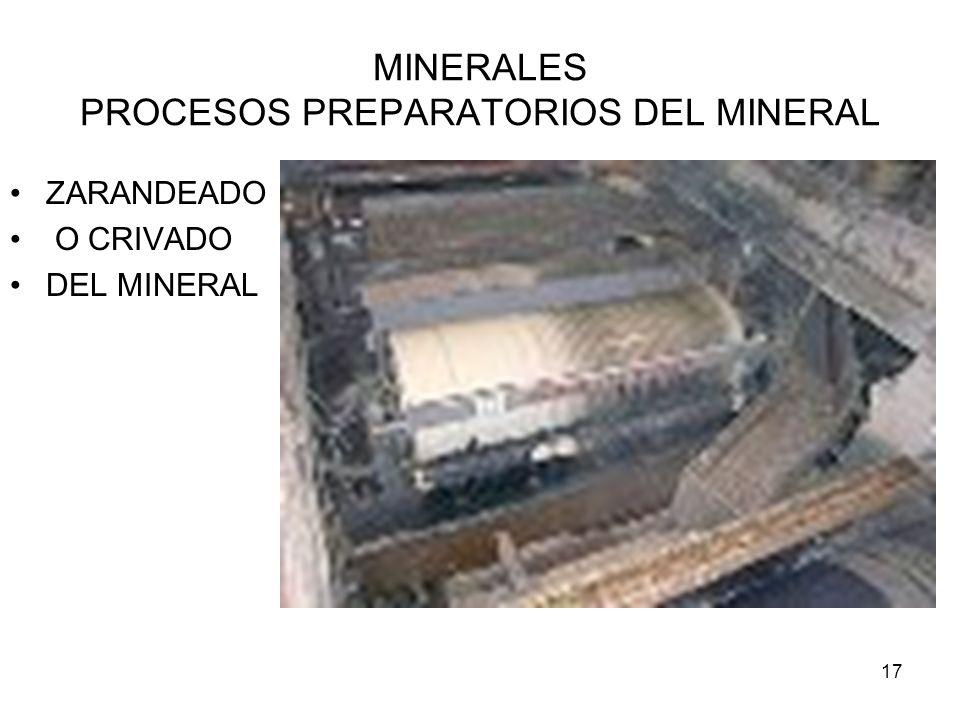 17 MINERALES PROCESOS PREPARATORIOS DEL MINERAL ZARANDEADO O CRIVADO DEL MINERAL