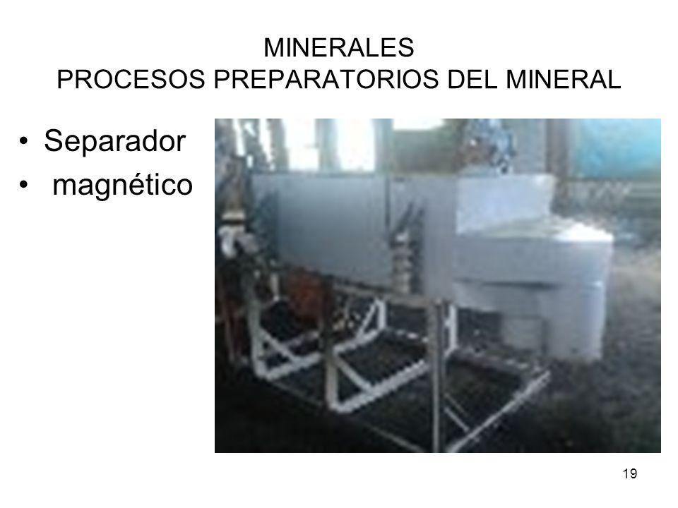 19 MINERALES PROCESOS PREPARATORIOS DEL MINERAL Separador magnético