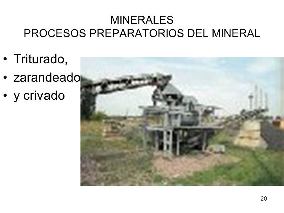 20 MINERALES PROCESOS PREPARATORIOS DEL MINERAL Triturado, zarandeado y crivado