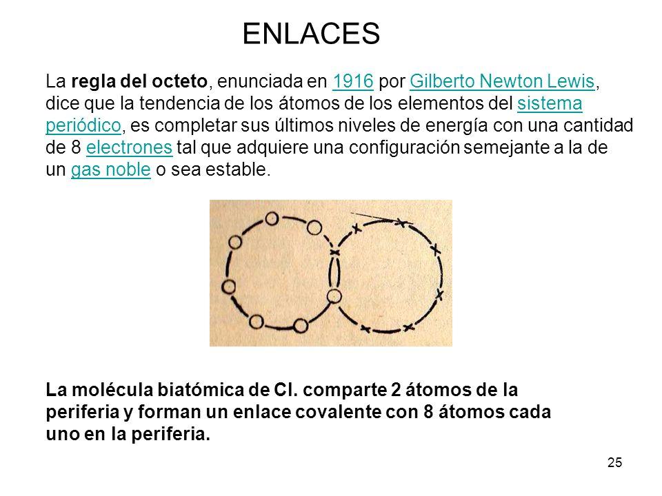 25 ENLACES La regla del octeto, enunciada en 1916 por Gilberto Newton Lewis, dice que la tendencia de los átomos de los elementos del sistema periódic