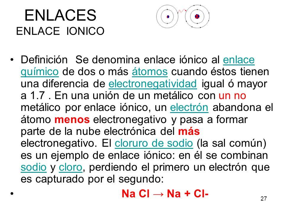 27 ENLACES ENLACE IONICO Definición Se denomina enlace iónico al enlace químico de dos o más átomos cuando éstos tienen una diferencia de electronegat