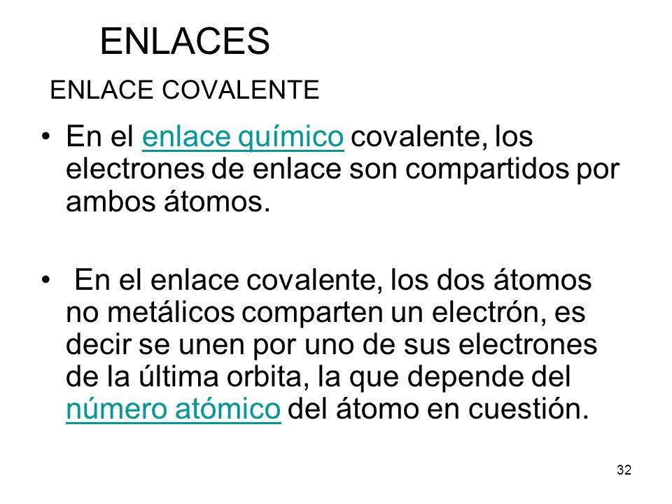 32 En el enlace químico covalente, los electrones de enlace son compartidos por ambos átomos.enlace químico En el enlace covalente, los dos átomos no