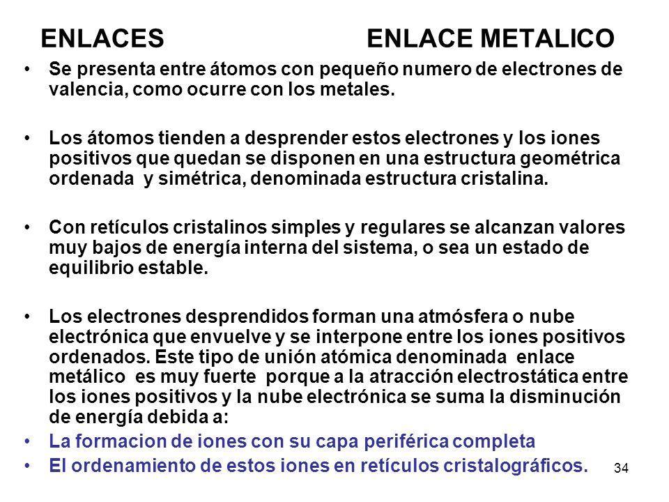 34 Se presenta entre átomos con pequeño numero de electrones de valencia, como ocurre con los metales. Los átomos tienden a desprender estos electrone