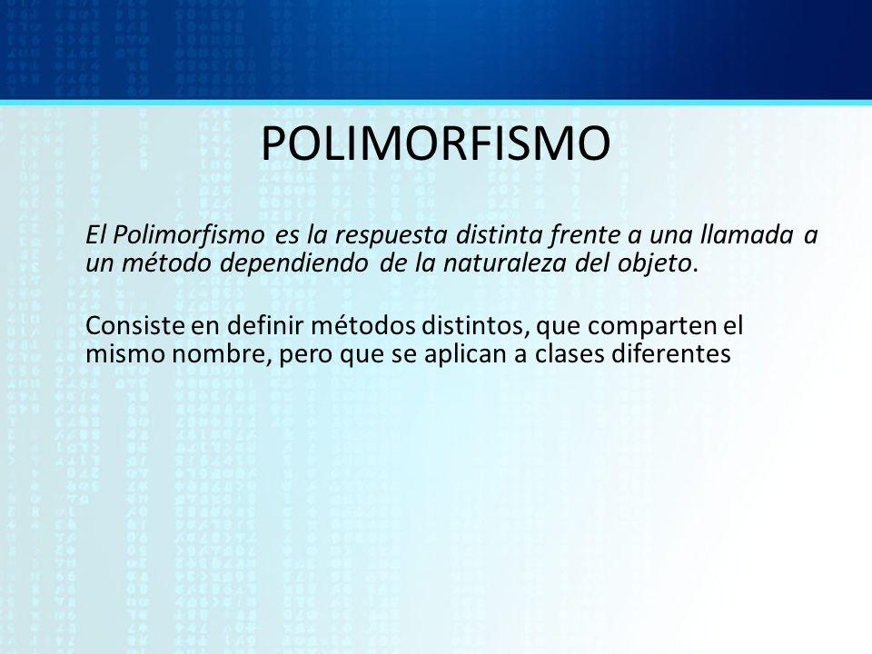 POLIMORFISMO El Polimorfismo es la respuesta distinta frente a una llamada a un método dependiendo de la naturaleza del objeto. Consiste en definir mé