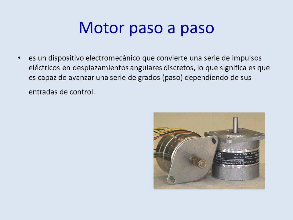 Motor paso a paso es un dispositivo electromecánico que convierte una serie de impulsos eléctricos en desplazamientos angulares discretos, lo que sign