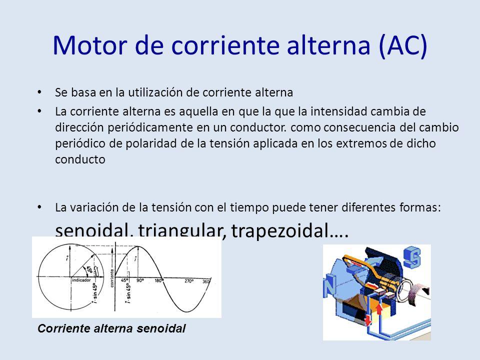 Motor de corriente alterna (AC) Se basa en la utilización de corriente alterna La corriente alterna es aquella en que la que la intensidad cambia de d