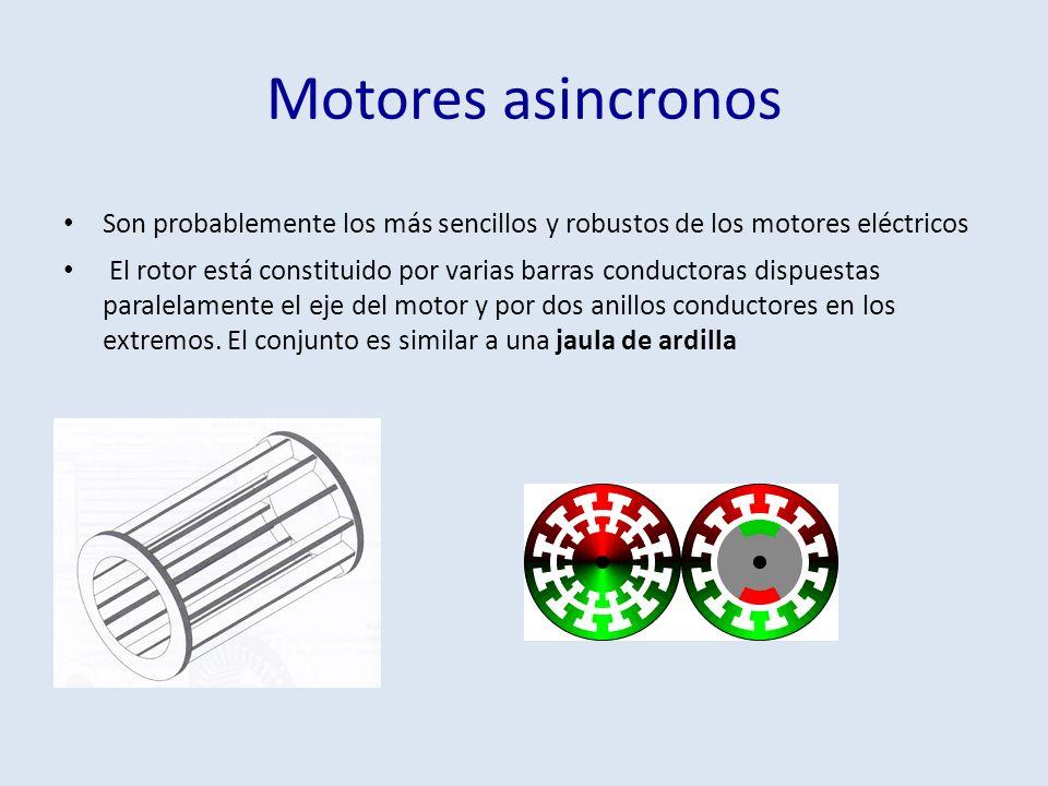 Motores asincronos Son probablemente los más sencillos y robustos de los motores eléctricos El rotor está constituido por varias barras conductoras di