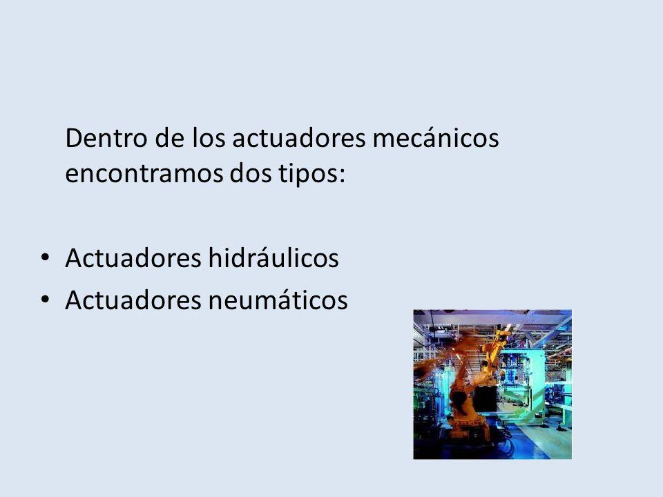 Dentro de los actuadores mecánicos encontramos dos tipos: Actuadores hidráulicos Actuadores neumáticos