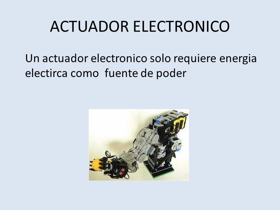 ACTUADOR ELECTRONICO Un actuador electronico solo requiere energia electirca como fuente de poder