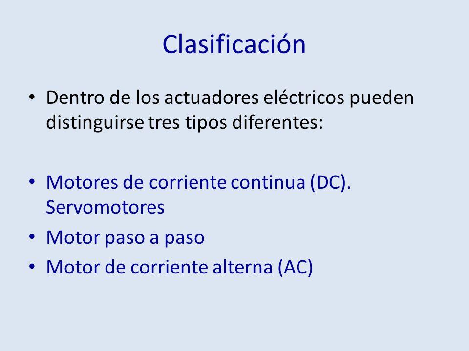 Clasificación Dentro de los actuadores eléctricos pueden distinguirse tres tipos diferentes: Motores de corriente continua (DC). Servomotores Motor pa