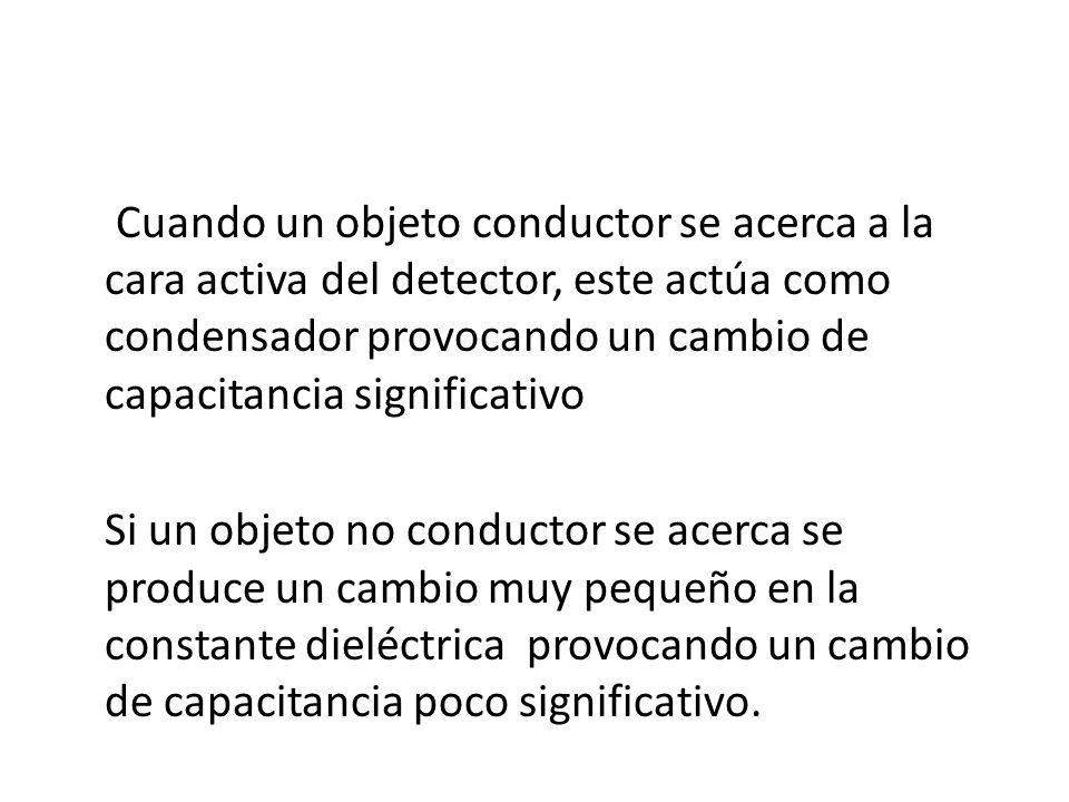Cuando un objeto conductor se acerca a la cara activa del detector, este actúa como condensador provocando un cambio de capacitancia significativo Si
