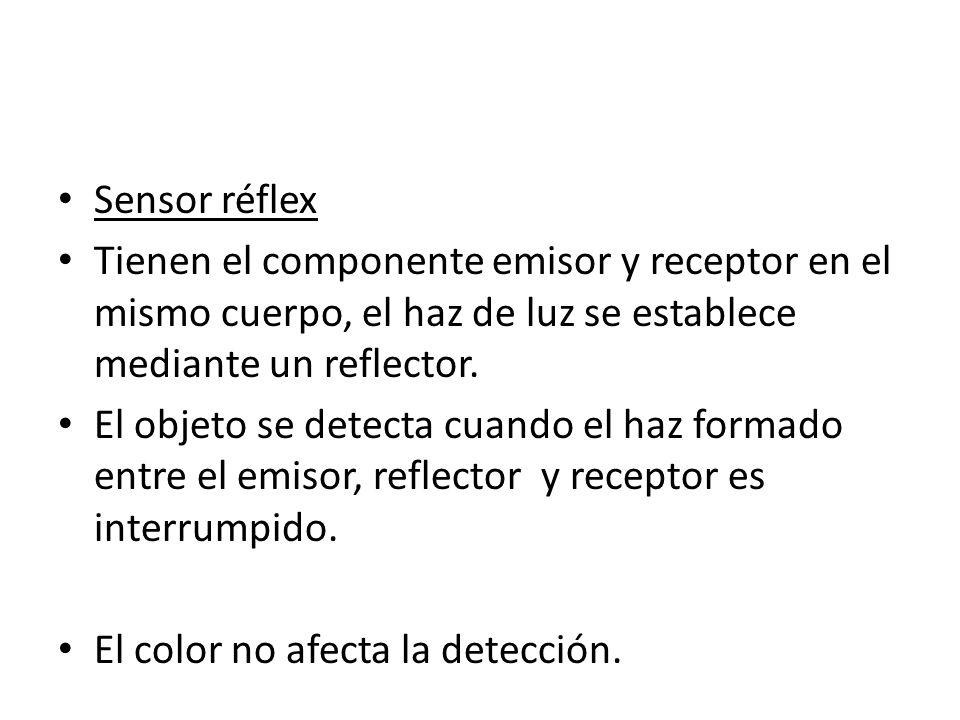 Sensor réflex Tienen el componente emisor y receptor en el mismo cuerpo, el haz de luz se establece mediante un reflector. El objeto se detecta cuando