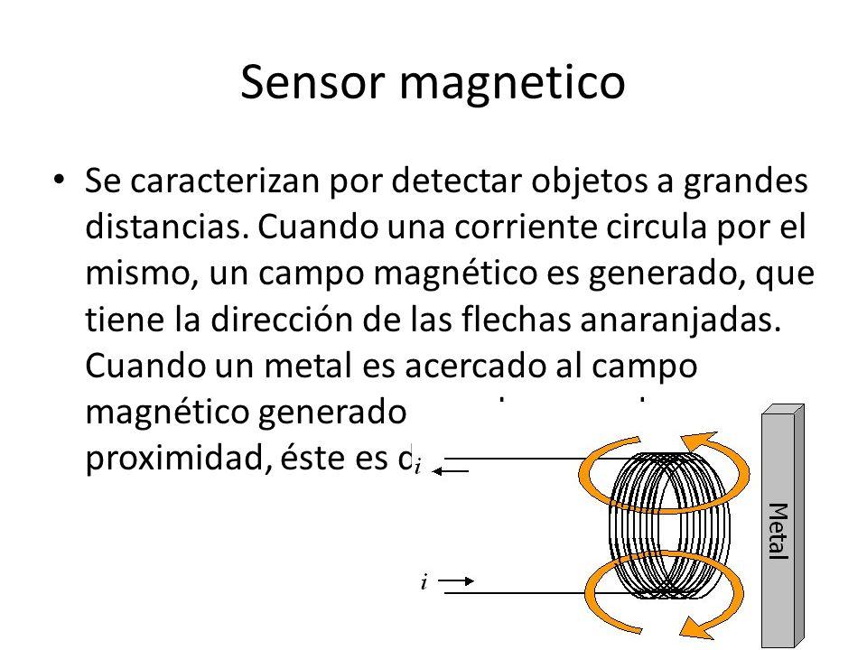 Sensor magnetico Se caracterizan por detectar objetos a grandes distancias. Cuando una corriente circula por el mismo, un campo magnético es generado,