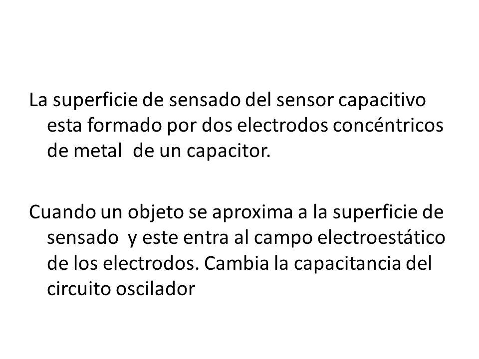 La superficie de sensado del sensor capacitivo esta formado por dos electrodos concéntricos de metal de un capacitor. Cuando un objeto se aproxima a l