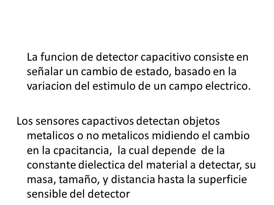La funcion de detector capacitivo consiste en señalar un cambio de estado, basado en la variacion del estimulo de un campo electrico. Los sensores cap