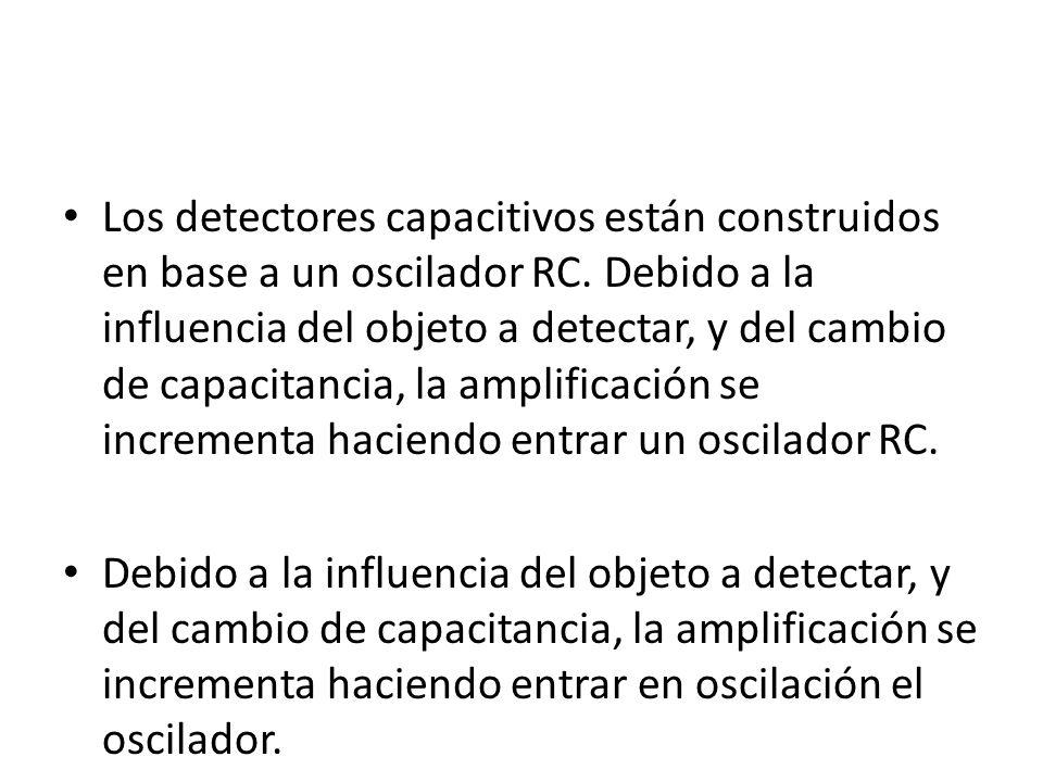 Los detectores capacitivos están construidos en base a un oscilador RC. Debido a la influencia del objeto a detectar, y del cambio de capacitancia, la