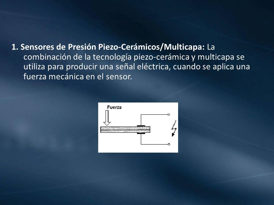 1. Sensores de Presión Piezo-Cerámicos/Multicapa: La combinación de la tecnología piezo-cerámica y multicapa se utiliza para producir una señal eléctr