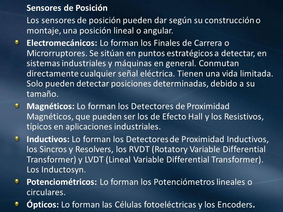 Sensores de Posición Los sensores de posición pueden dar según su construcción o montaje, una posición lineal o angular. Electromecánicos: Lo forman l