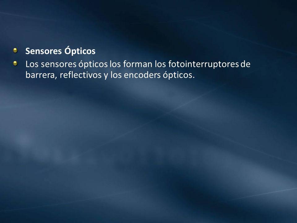Sensores Ópticos Los sensores ópticos los forman los fotointerruptores de barrera, reflectivos y los encoders ópticos.