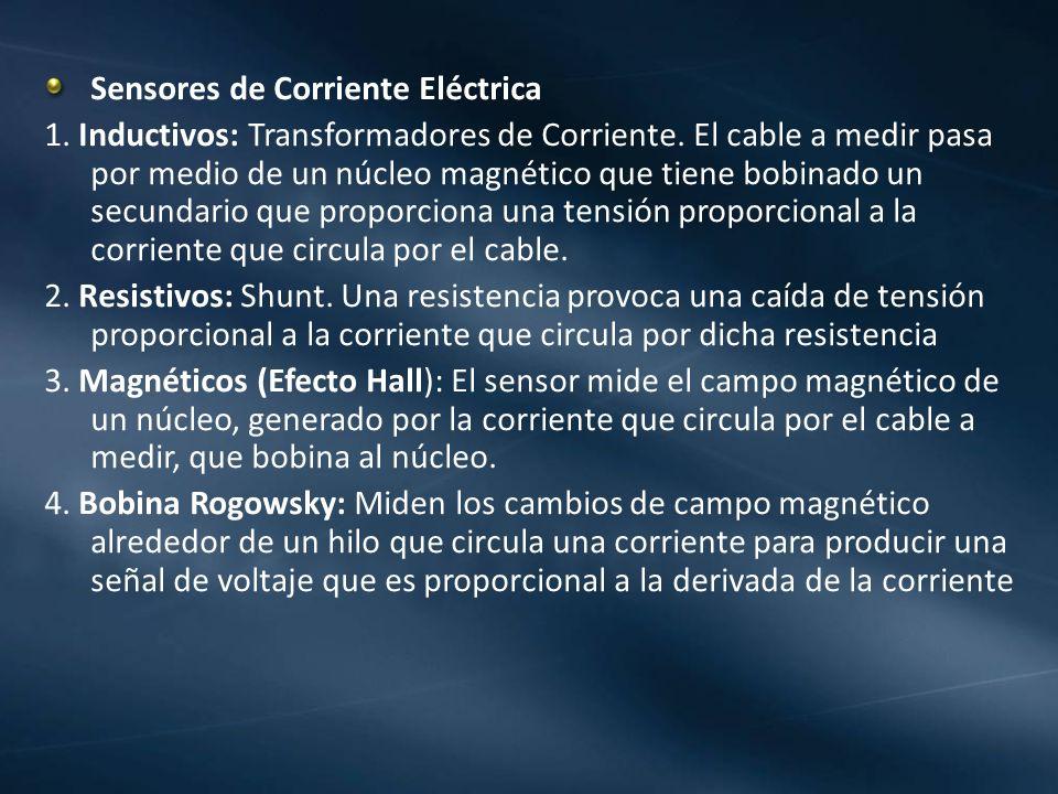 Sensores de Corriente Eléctrica 1. Inductivos: Transformadores de Corriente. El cable a medir pasa por medio de un núcleo magnético que tiene bobinado
