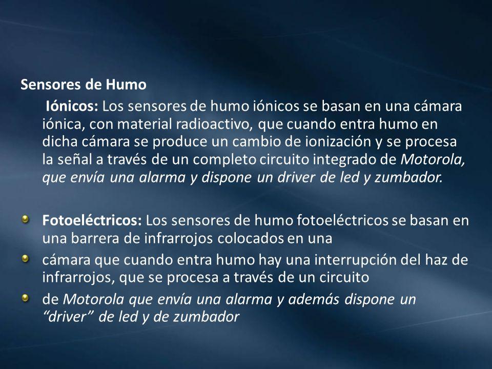 Sensores de Humo Iónicos: Los sensores de humo iónicos se basan en una cámara iónica, con material radioactivo, que cuando entra humo en dicha cámara