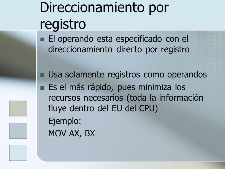Direccionamiento por registro El operando esta especificado con el direccionamiento directo por registro Usa solamente registros como operandos Es el