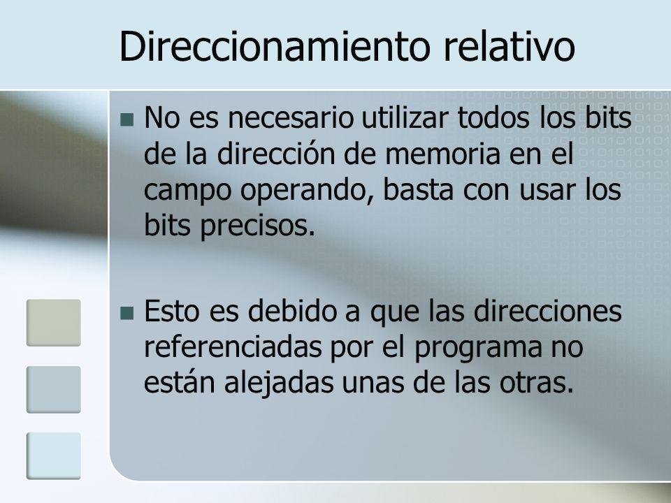 Direccionamiento relativo No es necesario utilizar todos los bits de la dirección de memoria en el campo operando, basta con usar los bits precisos. E