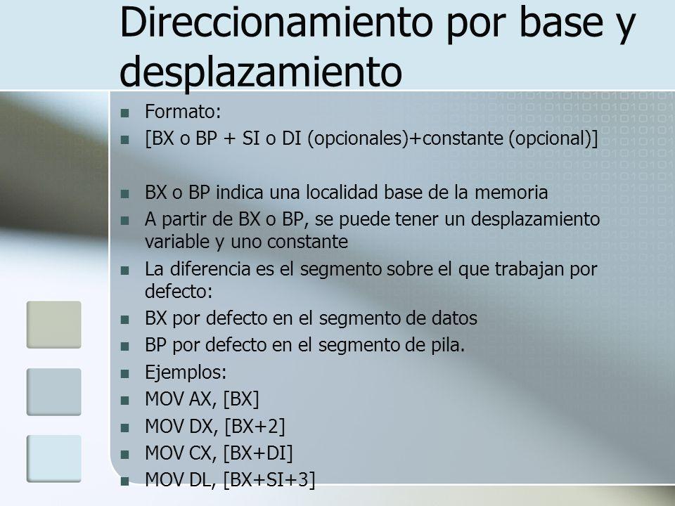 Direccionamiento por base y desplazamiento Formato: [BX o BP + SI o DI (opcionales)+constante (opcional)] BX o BP indica una localidad base de la memo