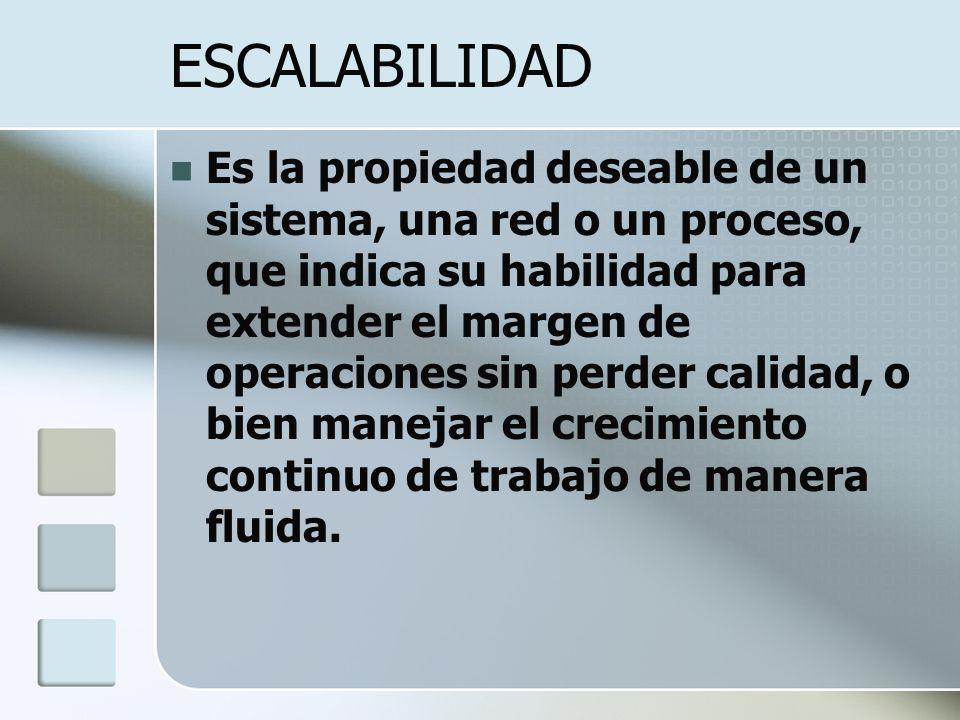 ESCALABILIDAD Es la propiedad deseable de un sistema, una red o un proceso, que indica su habilidad para extender el margen de operaciones sin perder