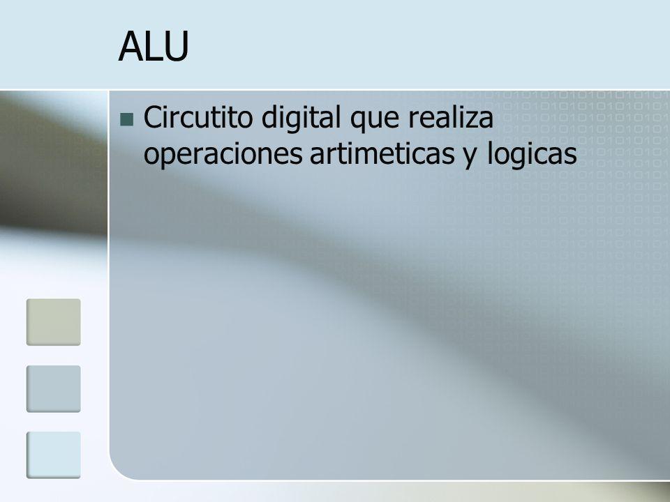ALU Circutito digital que realiza operaciones artimeticas y logicas