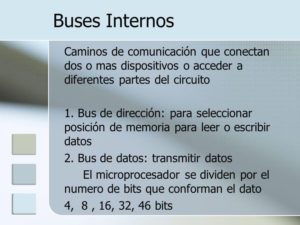 Buses Internos Caminos de comunicación que conectan dos o mas dispositivos o acceder a diferentes partes del circuito 1. Bus de dirección: para selecc
